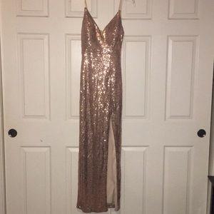 B.Smart: Rose Gold long Prom Dress,Size 7/8